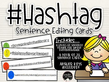 #Hashtag Leveled Sentence Editing Cards with Recording Sheets & Answer Keys