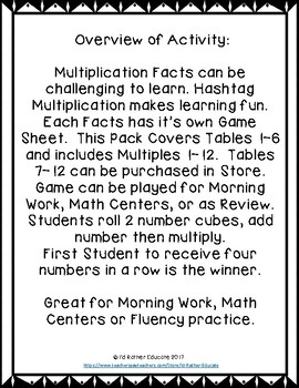 Hashtag Multiplication Game, Tables 1-6