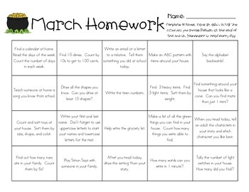 Hassle Free Homework - Kindergarten Student Choice Homework Grid