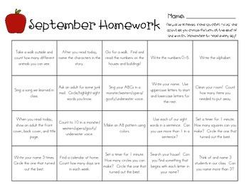 kindergarten homework ideas