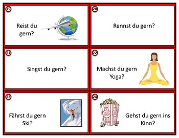 German Conversation Starter Cards - Hast du gern?