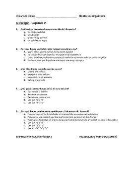 Hasta La Sepultura - Multiple Choice Chapter Comprehension Quizzes
