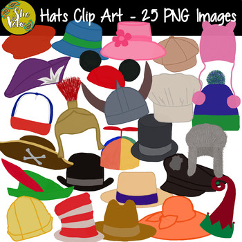 Hat Clip Art, Name Tags, Locker Tags - 25 PNG Images