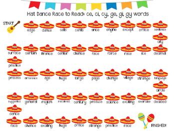 Hat Dance Race to Read: ce, ci, cy, ge, gi, gy