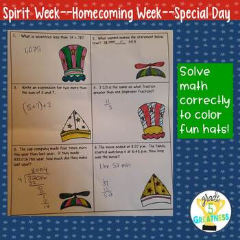 Hat Day Math Homecoming or Spirit Week Activities