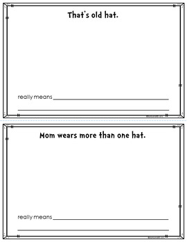 IDIOMS UNIT Hat Idioms Idioms Activity Idiom Worksheets Literacy Center