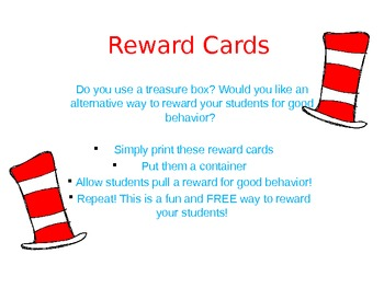 Hat and Cat themed reward cards