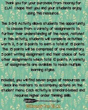 Hatchet 2-5-8 Student Menu and Resources
