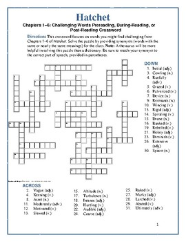 Hatchet: 4 Vocabulary Crosswords—A Fun Way to Learn New Words!