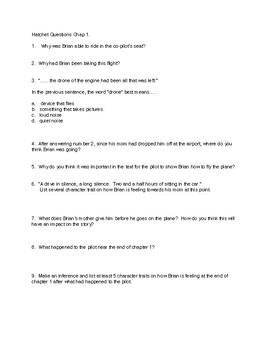 Hatchet Book Study Questions