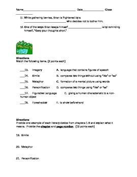 Hatchet Ch. 1-8 assessment