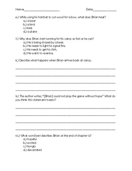 Hatchet Chapter 12 Quick Quiz