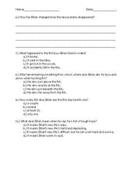Hatchet Chapter 13 Quick Quiz
