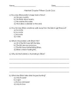 Hatchet Chapter 15 Quick Quiz