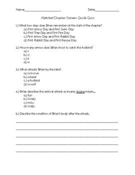 Hatchet Chapter 16 Quiz Quiz