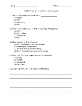 Hatchet Chapter 18 Quick Quiz