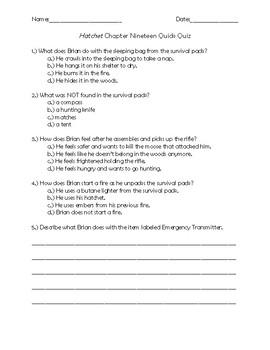 Hatchet Chapter 19 Quick Quiz