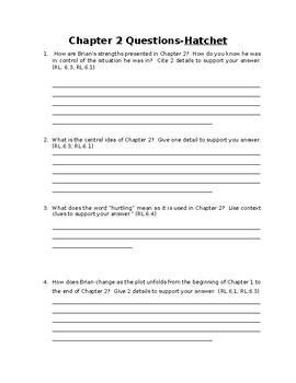 Hatchet Chapter 2 Close Read Questions