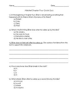 Hatchet Chapter 4 Quick Quiz