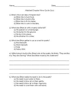 Hatchet Chapter 9 Quick Quiz