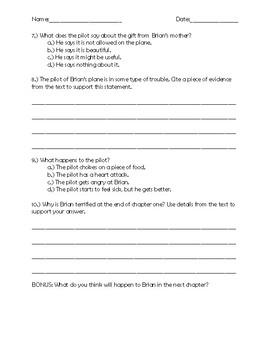 Hatchet Chapter 1 Quick Quiz