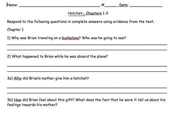 Hatchet- Chapters 1-8 Literature Pack