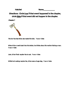 Hatchet (Chapters 7-10) Simple Questions