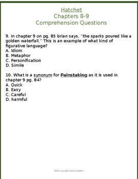 Hatchet Chapters 8-9 Comprehension Quiz