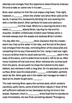 Hatchet Book Summary Cloze Activity