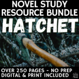 Hatchet Complete Teaching Guide Novel Study, Worksheets, A