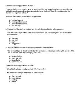 Hatchet Comprehension Test Standardized Test Style ReadyGen Text Collection
