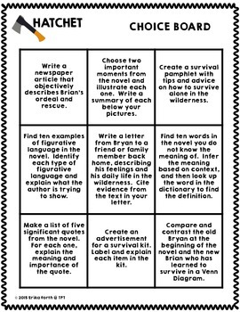 Hatchet - Differentiated Choice Board