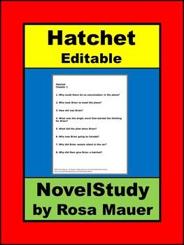 Hatchet Editable Novel Study for Gary Paulsen Book