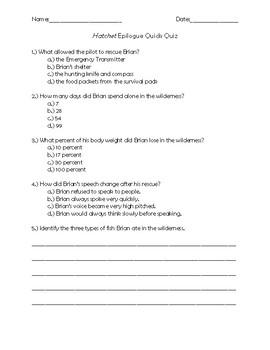 Hatchet Epilogue Quick Quiz