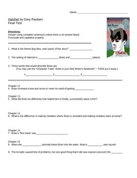 Hatchet Final Test - Chapters 12 - 19
