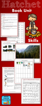 Hatchet Novel Study: vocabulary, comprehension quizzes, writing, activities