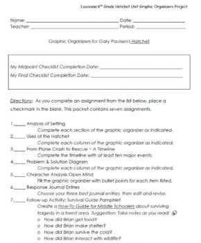 Hatchet Graphic Organizer Project