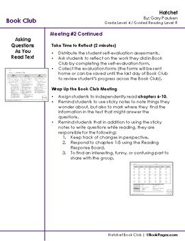 Hatchet Lesson Plan, 4th Grade (Book Club Format - Drawing Conclusions) (CCSS)