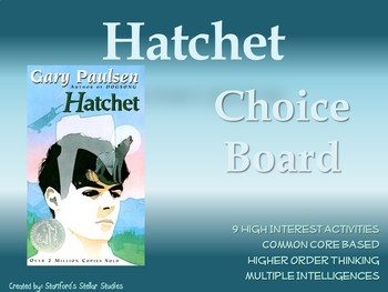 Hatchet Choice Board Novel Project Activities Menu Assessment Tic Tac Toe