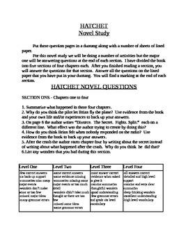 Hatchet Novel Study
