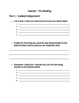 Hatchet Novel Study - Prereading activity to accompany Prereading powerpoint