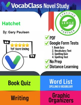 Hatchet Book Novel Study Guide PDF - READING QUIZZES | VOCAB | TESTS | GAMES
