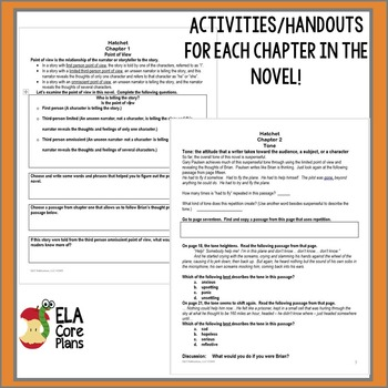 Hatchet Novel Unit ~ Activities, Handouts, Tests