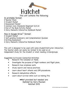 image about Hatchet Worksheets Printable known as Hatchet Novel Exploration E book Gadget Printable and for Google Commitment