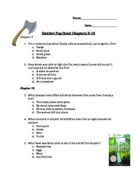 Hatchet Pop Quiz! Chapters 9 and 10