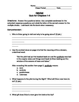Hatchet Quiz:  Chapters 1-4