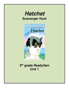 Hatchet Scavenger Hunt, 5th grade ReadyGen Unit 1