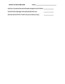Hatchet Study Guide Novel test
