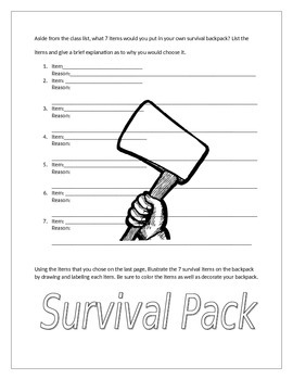 Hatchet Survival Pack- Post Activity