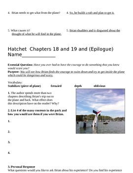 Hatchet Text Evidence Questions